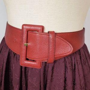 Express | Vintage Red Leather Wide Waist Belt